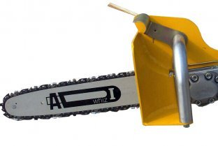 ACH pistol grip chain saw with chain brake in operating position